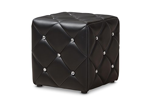 Baxton Studio 424-8147-AMZ Anabelle Modern and Contemporary Black Faux Leather Upholstered Ottoman