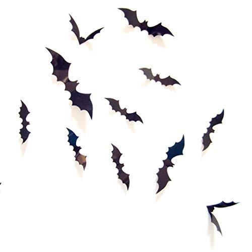 (Ratoop Halloween Decorations Bat Decals Plastic 3D Wall Bats Stickers for Home Window Decor Party Supplies-60PCS/4 Size)