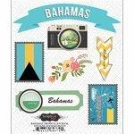 Scrapbook Customs - Tropical Excursions Collection - Doo Dads - Self Adhesive Metal Badges - Bahamas - Journal