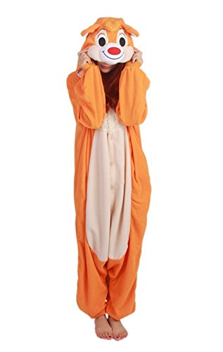 Xiqupjs Adult Onesies Animal Pajamas Cosplay Costume One Piece Halloween Sleepwear For Women Teens (M, Orange Squirrel) ()