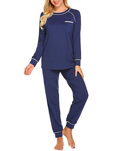 Ekouaer Plus Size Sleepwear Women's Long Sleeve Loungewear Soft Knit Pajama Set...