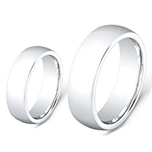 Men & Women's 8MM/6MM Cobalt Chrome High Polished Domed finished Wedding Band Ring Set (Available Sizes 6-12 Including Half Sizes) Please e-mail sizes