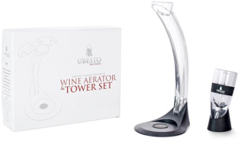 Review Wine Aerator – Stylish Wine Aerator Set, Best Red Wine Aerator Gift Set with Black Ring Aerator Pourer, Aerator Stand with Glass Holder and FREE Bar Accessories, Luxury Gift Box