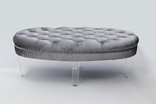Baxton Studio Edna Modern and Contemporary Oval Microsuede Fabric Upholstered Luxe Tufted Ottoman Bench with Acrylic Legs, Grey
