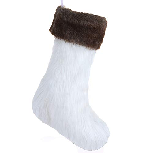 Wishdiam 20 inch White Faux Fur Christmas Stockings with Brown Faux Fur Cuff for Xmas Holiday Party Decorations Gift /1 Piece