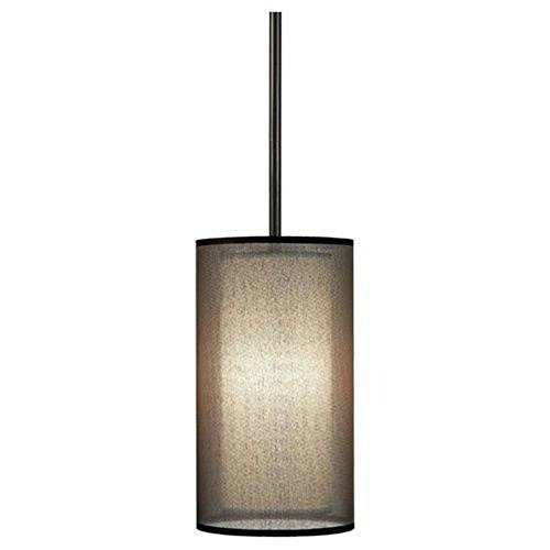 (Robert Abbey Z2186 Mini Pendants with Bronze Fabric Inner and Ascot White Outer Shades, Deep Patina Bronze Finish)