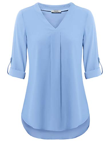 Youtalia Womens Dressy Tops and Blouses, Girls Chiffon Top Roll Sleeve V Neck Tunic Pleats Curved Hem Soft Comfy Button Down Work Shirts Light Blue Large ()