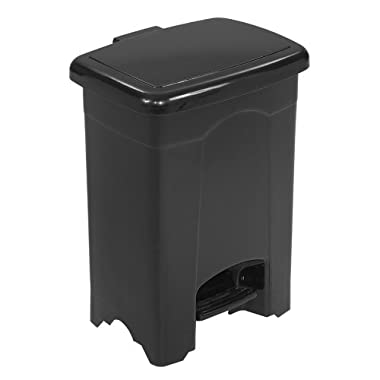 Safco Products 9710BL Plastic Step-On Waste Receptacle, 4-Gallon, Black