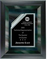 8 x 10 Black Mirror Plaque Engraved with Black Rolled Plate in Frame by Gino's Awards Inc