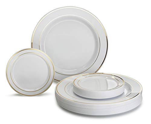 """""""OCCASIONS"""" 120 Pack, Premium Disposable Plastic plates Bundle (60 x 10.5'' Dinner + 60 x 6'' Cake plates) White with Gold Rim"""