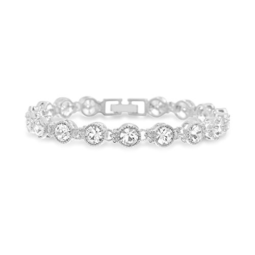 Devin Rose Fashion Tennis Bracelet for Women Made with Swarovski Crystal in Rhodium Plated Brass (Antique Style)