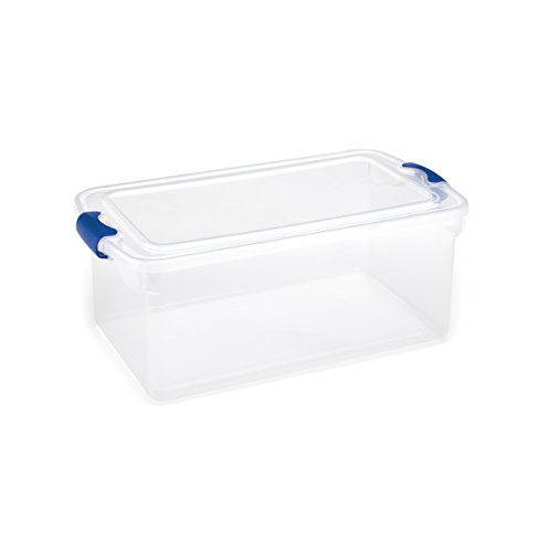 Homz Plastic Storage Tote Box, With Lid, Latching Handles, 64 Quart, Clear, Stackable, (Latching Tote)