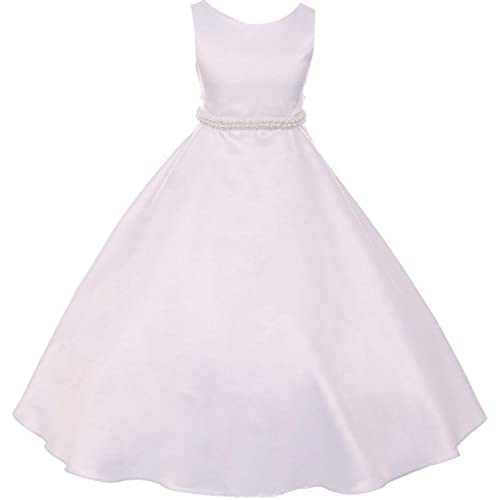 Dreamer P Big Girls Satin Pearl Trim Wedding Holy First Communion Flower Girl Dress White 12 (K38D6)