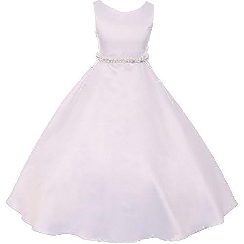 Dreamer P Big Girls Satin Pearl Trim Wedding Holy First Communion Flower Girl Dress White 12 (K38D6)