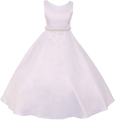 Big Girls' Satin Pearl Trim Wedding Holy First Communion Flower Girl Dress White 8 (K38D6)