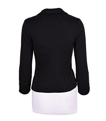 Bouton Classique Femme Noir Couleur Veste Uni Bigood Costume Vogue Rv0TCwTqx