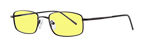 Night Driving Glasses with Canary Yellow Polycarbonate Double Sided Anti-reflective Coating, Scratch Coating and Uv Protection - Sturdy Metal Frame - - Film Tint Eyeglass