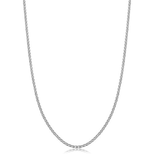 925 Sterling Silver Wheat Chain Necklace, 2MM 2.5MM- Spiga Chain Necklace, Spiga Wheat Chain 16-30
