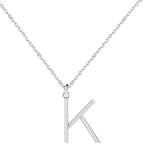 "Libertini pendentif argent 925 femme serti de Diamant en forme de ""K"" Alphabet"