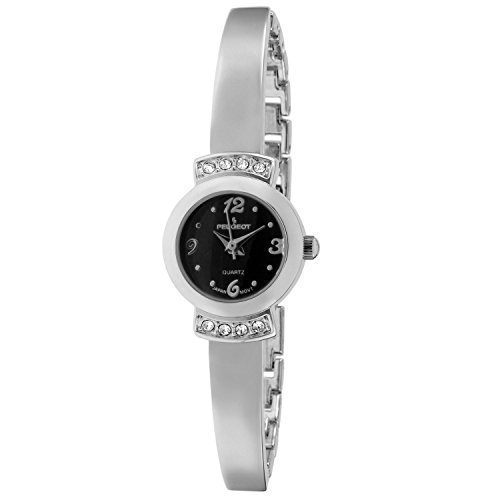Peugeot Women's 'Half Bangle Bracelet' Quartz Metal and Alloy Casual Watch, Color:Silver-Toned (Model: 7092SBK)