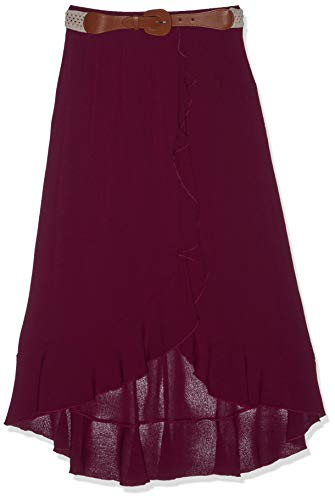 Amy Byer Girls' Big Ruffle Front Maxi Skirt with Belt, Boho Plum, L ()