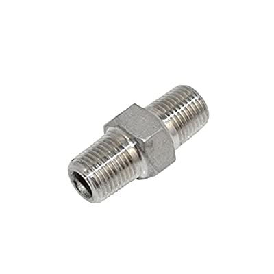 "SuperWhole Hex Nipple 1/8"" Male x 1/8"" Male 304 Stainless Steel threaded Pipe Fitting NPT"