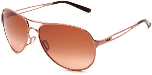 Womens Medium Frame Sunglasses - Oakley Women's Caveat Aviator Sunglasses,Rose Gold Frame/Brown Gradient Lens,One Size