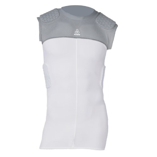 Mcdavid Hexpad Sleeveless - McDavid Youth HexPad Sleeveless 5-Pad Padded Body Shirt, White/Grey, Medium