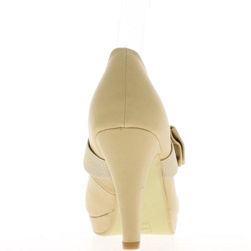 Knoten Beige geschlossene Pumps Heels 9cm, Plateau und Einstellung
