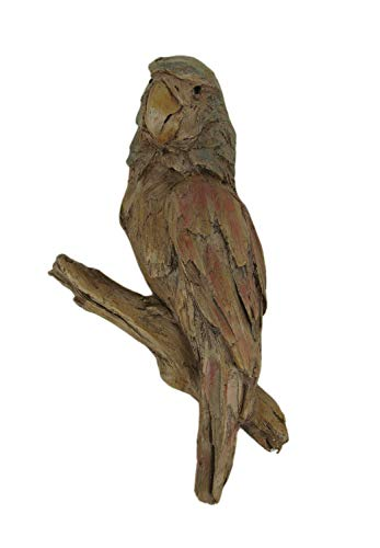 (Things2Die4 Red Green and Brown Carved Old Wood Look Parrot Wall Sculpture)