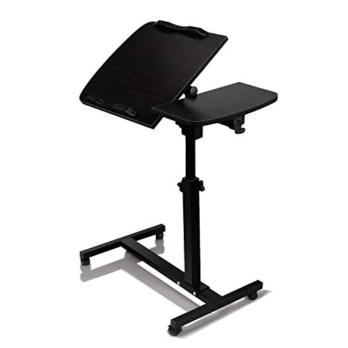 Dingji turnlift sit-Stand Mobile Laptop Desk Cart with Side Table Black Computer Table Adjustable (Black)