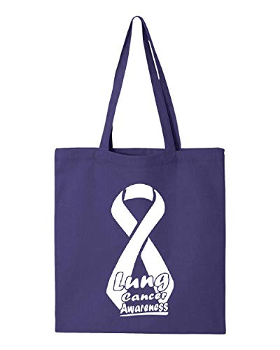(Lung Cancer Awareness Ribbon Support Tote Handbags Bags for Work School Grocery Travel)