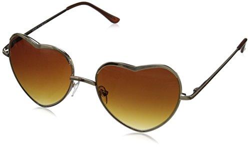 - A.J. Morgan Women's Heart of Glass Round Sunglasses, Gold, 55 mm