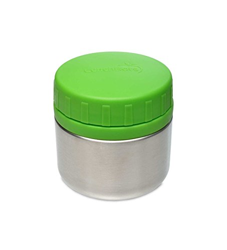 LunchBots Rounds Stainless Steel Food Container (8 oz) - Non-Insulated Leak-Proof Food Jar for Lunch, Yogurt, Snacks and Sides - Eco-Friendly, Dishwasher Safe and BPA-Free - Green