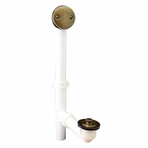 PlumBest P3750AB PVC Lift and Turn Tubular Bath Waste Kit, Antique Brass