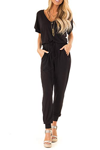 sullcom Women Summer Solid Short Sleeve Wide Leg Jumpsuit Casual V Neck Stretchy Long Pant Rompers (XX-Large, ()