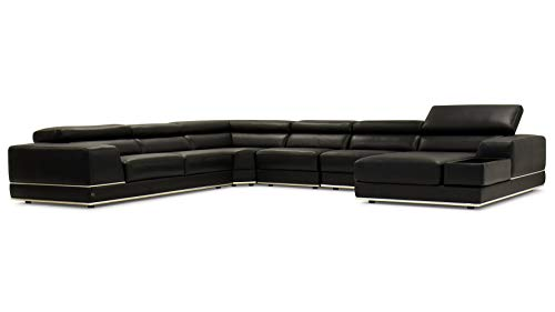 Zuri Furniture Wynn Black Leather Sectional Sofa with Adjustable Headrests – Right Chaise For Sale