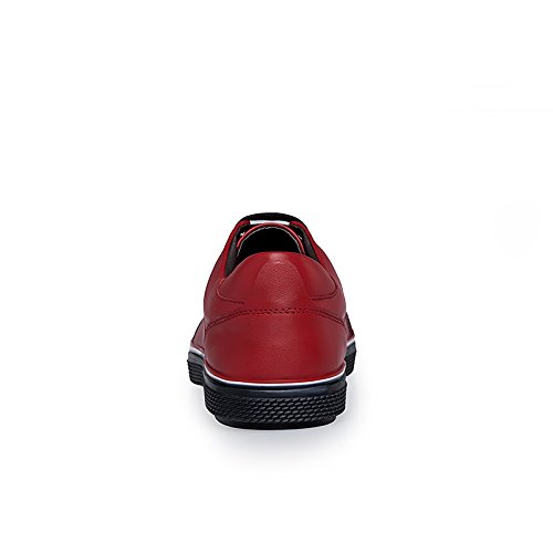 Abby 16350 Mens Scarpe Da Skateboard Comfort Hunk In Pelle Casual Per Il Tempo Libero Smart Walking Driving Sneakers Rosse