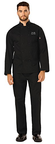 Embroidered Unisex Classic Knot Button Chef Coat (Style DC43) Black (Classic Embroidered Coat)