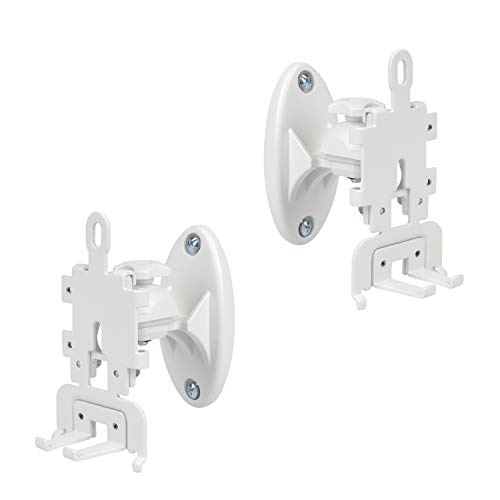 DYNAVISTA Speaker Wall Mount for Sonos Play 1 and 3 - Adjustable Full Motion Speaker Mount Bracket with Tool-Free Swivel and Tilt, White, Set of 2