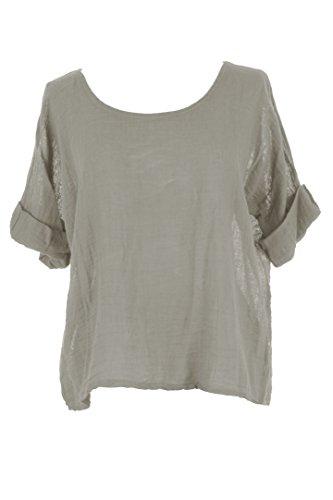 Size Italian Crop Ladies Cotton TEXTURE Plain One Top Women Blouse Lagenlook Linen Moka 0Pq64ES