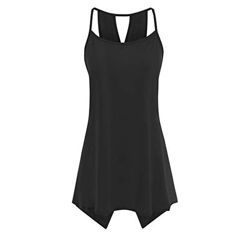 LYN Star ♪ Women's Short Sleeve Scoop Neck T Shirt Casual Tops Solid Sleeveless Tunic for Leggings Swing Flare Tank Tops Black