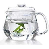 Heat-Resistant Borosilicate Glass Teapot 600ml with Infuser Microwave & Dishwasher Safe!