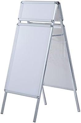 HOMCOM Panel Publicitario DIN A1 con Caballete y 2 Cestas - Blanco - Marco de Aluminio y Tablero PVC - 64x8x144 cm