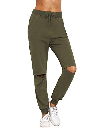 SweatyRocks Women's Ripped Pants Drawstring Yoga Workout Sweatpants Heather Grey, Army Green #1, -
