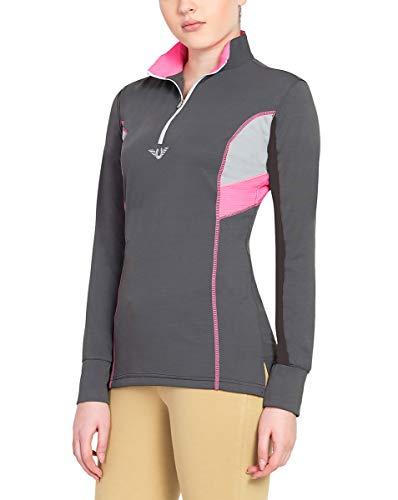 Womens Technical Mock Shirt - TuffRider Women's Neon Ventilated Mock Zip Long Sleeve Sport Shirt | Women Horse Riding Polo Shirt - Charcoal/NeonPink - Size X-Small