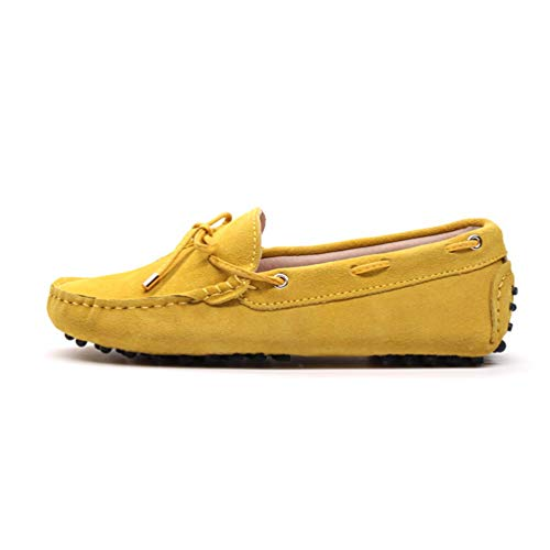 (JOYBI Women's Moccasins Shoes Slip On Lightweight Bow Knot Soft Suede Flats Shoes Casual Walking Driving Working Penny Loafers Yellow)