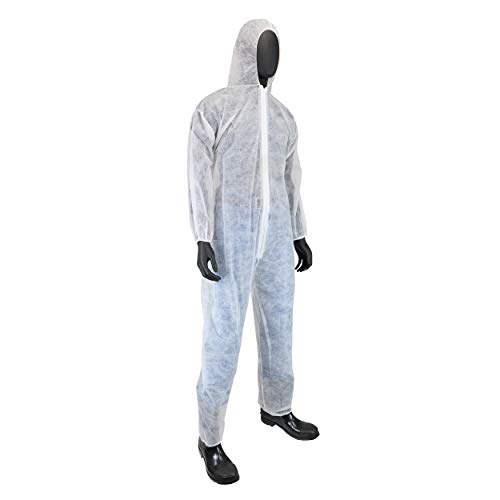 Pack of 25 White, West Chester 3506 2XL WGT SBP Coverall-Hood El.Wr/&ANK