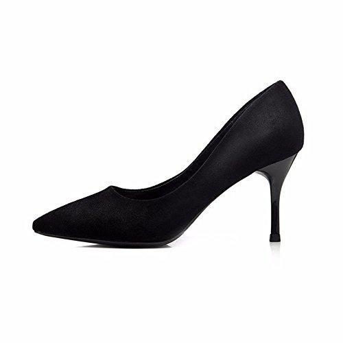 HXVU56546 Zapatos De Tacón Negro Con Una Punta Fina, Con Wild Profesional Solo Zapatos Zapatos De Mujer black