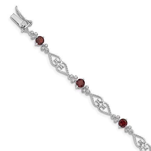 925 Sterling Silver Diamond Red Garnet Bracelet 7 Inch Gemstone Fine Jewelry Gifts For Women For Her